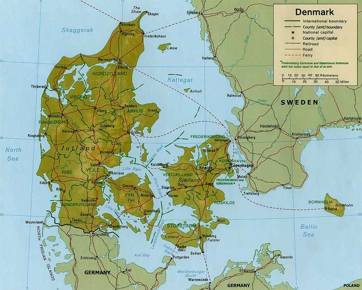 Harta Danemarca Harta Danemarcei Informatii Harta Rutiera