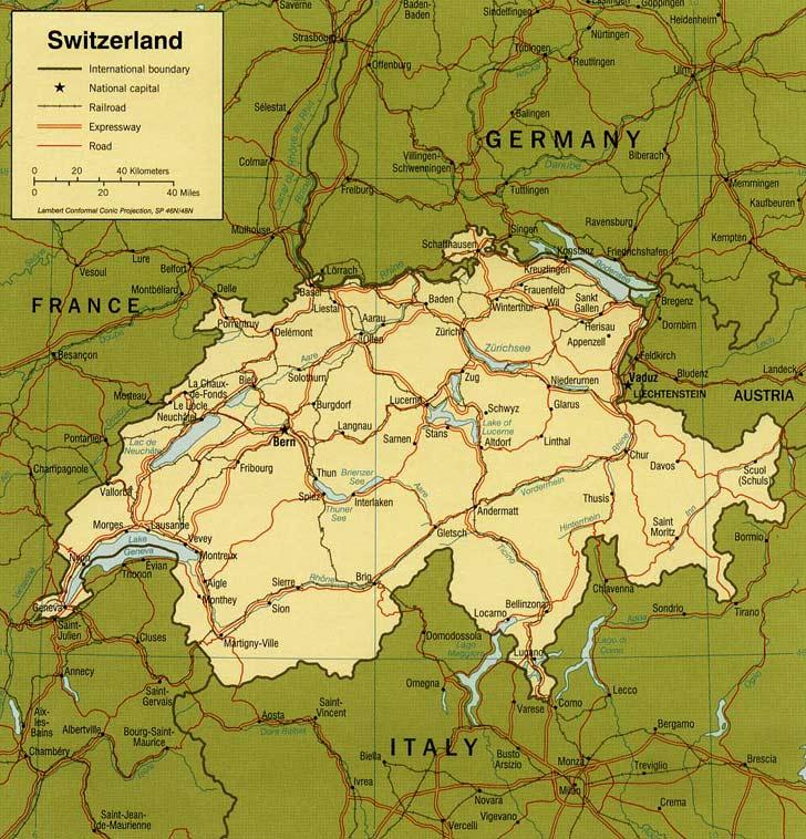 Harta Elvetia Harta Elvetiei Informatii Harta Rutiera Harti