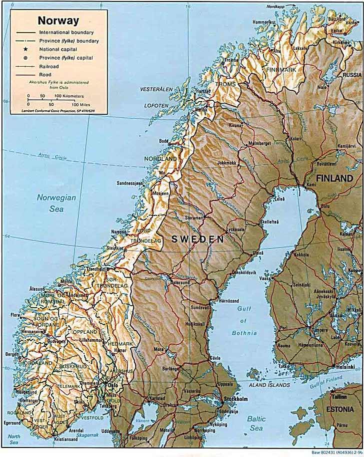 Harta Norvegia Harta Norvegiei Informatii Harta Rutiera Harti