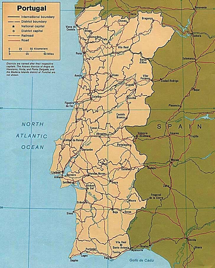 Harta Portugalia Harta Portugaliei Informatii Harta Rutiera