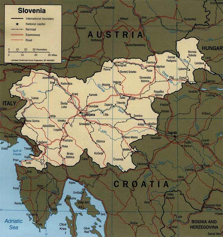 Harta Slovenia Harta Sloveniei Informatii Harta Rutiera Harti